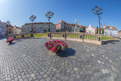 View of one part at Union Square in Timisoara, Romania. TIMISOARA, ROMANIA - AUGUST 24, 2017: View of one part at Union Square in Timisoara, Romania, with old Stock Image