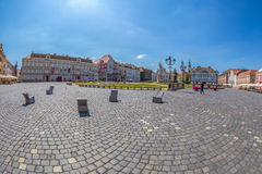 View of one part at Union Square in Timisoara, Romania. TIMISOARA, ROMANIA - AUGUST 24, 2017: View of one part at Union Square in Timisoara, Romania, with old Royalty Free Stock Photo