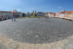 View of one part at Union Square in Timisoara, Romania. TIMISOARA, ROMANIA - AUGUST 24, 2017: View of one part at Union Square in Timisoara, Romania, with old Royalty Free Stock Photos