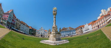 View of one part at Union Square in Timisoara, Romania. TIMISOARA, ROMANIA - AUGUST 16, 2017: Panoramic view of one part at Union Square in Timisoara, Romania Royalty Free Stock Photo