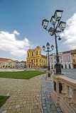 View of one part at Union Square in Timisoara, Romania. TIMISOARA, ROMANIA - MARCH 18, 2016: View of one part at Union Square in Timisoara, Romania, with old Stock Photography