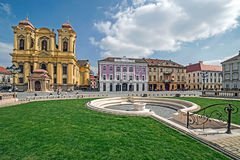 View of one part at Union Square in Timisoara, Romania. TIMISOARA, ROMANIA - MARCH 18, 2016: View of one part at Union Square in Timisoara, Romania, with old Stock Images