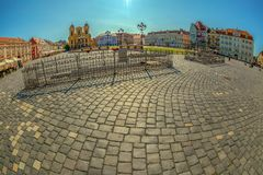 View of one part at Union Square in Timisoara, Romania. TIMISOARA, ROMANIA - AUGUST 24, 2017: View of one part at Union Square in Timisoara, Romania, with old Royalty Free Stock Image