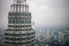 View on one Petronas Twin Tower from inside other tower Kuala Lumpur. Malaysia Royalty Free Stock Photography