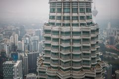 View on one Petronas Twin Tower from inside other tower Kuala Lumpur. Malaysia Stock Photos