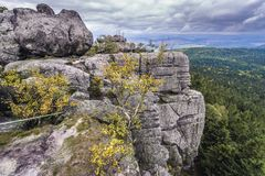 Szczeliniec Wielki in Poland. View from one of rock terraces of Szczeliniec Wielki massif in Table Mountains National Park, Sudetes in Poland royalty free stock images