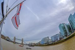 View from one ship with British flag on Thames river Royalty Free Stock Images
