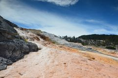 Lower Terraces Area, Mammoth hot spring, Wyoming, USA. royalty free stock images