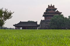 Tower of the Chinese imperial palace in smog royalty free stock images