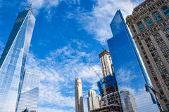 View of One Trade Center (Freedom Tower) and other buildings along the Hudson River Greenway. Manhattan New York, USA. Stock Photos