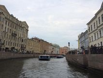 View of one of the tributaries of the Neva River. Famous water canals of St. Petersburg stock image
