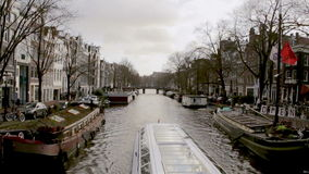 View on one of the Unesco world heritage city canals (Prinsengracht) stock footage
