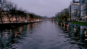 View of one of the Unesco world heritage famous city canals stock footage