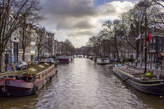 View of one of the Unesco world heritage famous city canals Royalty Free Stock Images