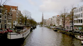 View of one of the Unesco world heritage famous city canals stock video footage