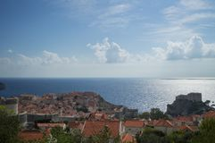 View onto Lokrum Island, Lovrijenac Fort and Old Town of Dubrovnik. From Lookout Point, Croatia Stock Image
