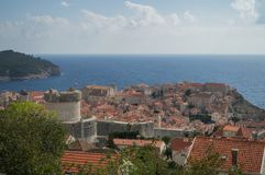 View onto Lokrum Island, Lovrijenac Fort and Old Town of Dubrovnik. From Lookout Point, Croatia Royalty Free Stock Images