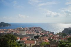 View onto Lokrum Island, Lovrijenac Fort and Old Town of Dubrovnik. From Lookout Point, Croatia Royalty Free Stock Photos