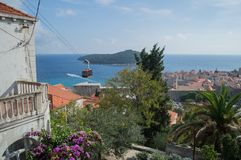 View onto Lokrum Island and Old Town of Dubrovnik with Cable Car royalty free stock photos