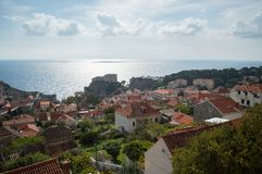 View onto Lovrijenac Fort and Old Town of Dubrovnik from Lookout. Point, Croatia Stock Image