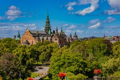 View onto the Nordic Museum or Nordiska museet on Djurgarden isl. View onto the intricate architecture of the Nordic Museum or Nordiska museet, located on Royalty Free Stock Photos
