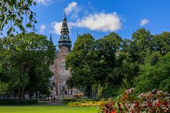 View onto the Nordic Museum or Nordiska museet on Djurgarden isl. View onto the intricate architecture of the Nordic Museum or Nordiska museet, located on Stock Photography