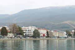 View onto Ohrid from the lake. OHRID, MACEDONIA - MARCH 12, 2017: View onto the town from the lake Royalty Free Stock Photography