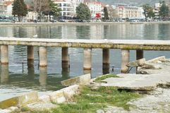 View onto Ohrid from the lake. OHRID, MACEDONIA - MARCH 12, 2017: View onto the town from the lake Stock Photos
