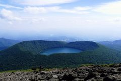 View onto Onami Ike from top of Mt. Karakunidake, highest mountain in Ebino kogen area, Kyushu, Japan. View onto Onami Ike from top of Mt. Karakunidake, highest royalty free stock photos
