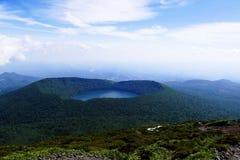 View onto Onami Ike from top of Mt. Karakunidake, highest mountain in Ebino kogen area, Kyushu, Japan. View of Onami Ike Lake Onami from top of Mt. Karakunidake stock images