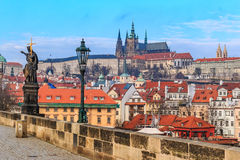 View onto Prague Castle from Charles Bridge Royalty Free Stock Photo