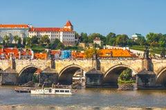 View onto Prague Castle from Charles Bridge over Vltava river in Prague, Czech Royalty Free Stock Photos
