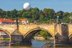 View onto Prague Castle from Charles Bridge over Vltava river in Prague, Czech Royalty Free Stock Photography