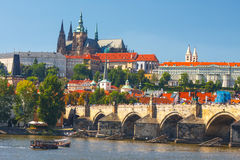 View onto Prague Castle from Charles Bridge over Vltava river in Prague, Czechia Royalty Free Stock Images