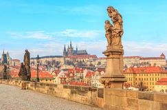 View onto Prague Castle from Charles Bridge stock images