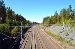 View onto a rails in finnland Royalty Free Stock Images