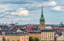 View onto Riddarholmen island in Stockholm old town Gamla Stan i Royalty Free Stock Photography