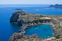 View onto St Paul's Bay in Lindos, Rhodes, Greece Royalty Free Stock Photo