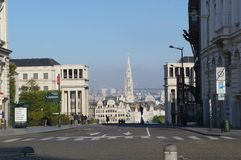 View onto the tower of City hall from the Cathedral square, Brussels Stock Images