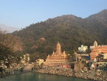 View of Lakshman Jula Bridge Rishikesh Royalty Free Stock Image