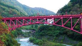 View of the open carriage tourist train run on a red bridge at Kurobe Gorge
