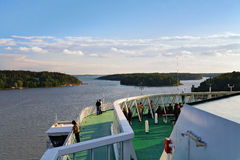 View from the open deck of ferry on the skerries Stock Photo