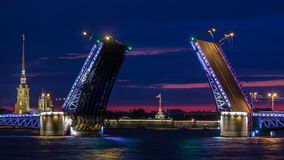 View of the open Palace Bridge timelapse, which spans - the spire of Peter and Paul Fortress. Classic symbol of St. Petersburg White Nights - a romantic view of stock video footage