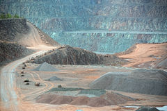 View into an open pit mine Stock Photos