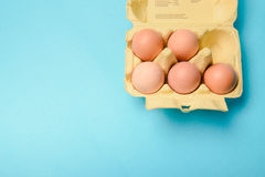 View of opened box of chicken eggs Royalty Free Stock Photos