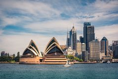 View of the Opera House and Sydney City from Kirribilli. Kirribilli, Sydney, Australia - October 23, 2018: View from across the bay at Kirribilli of the Opera stock photography