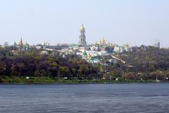 View from the opposite bank of the Dnipro on Kiev Pechersk Lavra. stock image