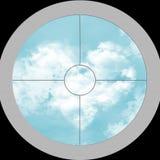 View through the optics on sky Stock Photo