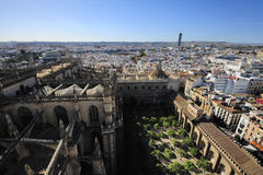 Orange Garden of  the Cathedral of Seville, Seville, Spain. View of Orange Garden  from Giralda Tower of  the Cathedral of Seville, Seville, Spain Royalty Free Stock Image