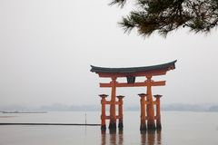 View of the orange torii gate and shore in the fog  at Miyajima Stock Photography